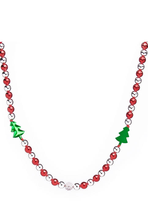 30 Inch Red Trees Necklace