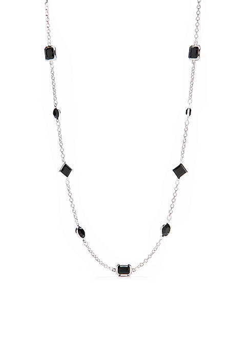 Kim Rogers® Silver-Tone Round Square Chain Necklace