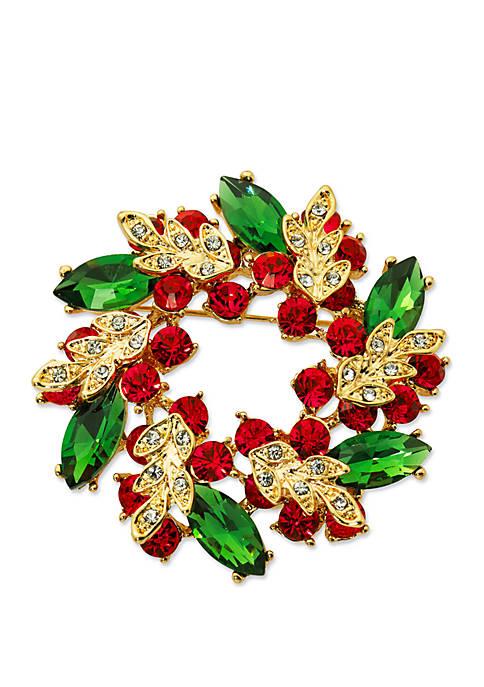 Kim Rogers® Gold Tone Wreath Pin
