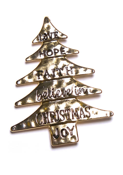 Kim Rogers® Gold Tone Words Christmas Tree Pin