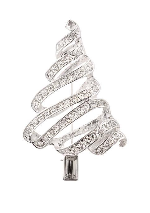 Kim Rogers® Silver Tone Christmas Tree Pin
