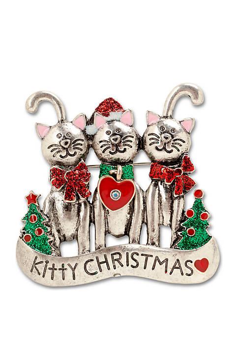 Kim Rogers® Christmas Kitty Friends Pin