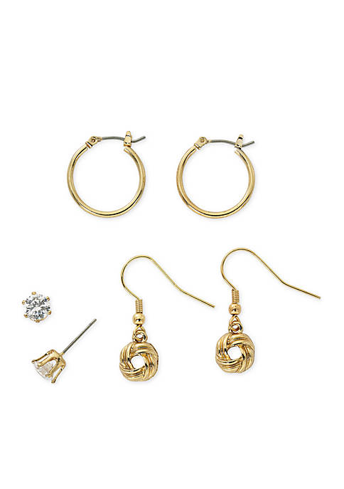 Kim Rogers® Gold-Tone Love Knot Drop Trio Earring
