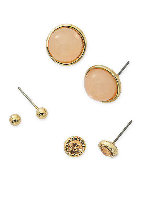 Kim Rogers® Gold-Tone Tonal Peach Trio Earring Set