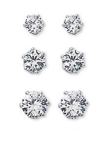 Kim Rogers® Silver Tone Sensitive Skin Trio Stud Earrings Set