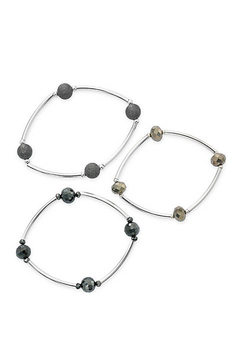 Kim Rogers® 3-Piece Faceted Bead Tube Stretch Bracelet