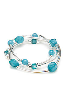 Silver-Tone Mixed Bead Tube Bracelet