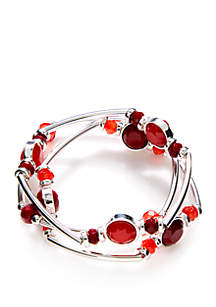 Silver-Tone Tube Bracelet Set