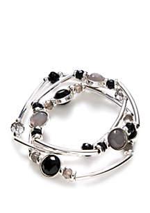 Silver-Tone Bead and Tube Bracelet Set