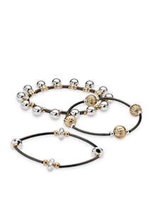 Tri-Tone Shaky Bead and Tube Set of Three Stretch Bracelets