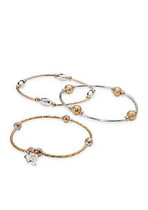 Tri-Tone Heart and Key Charm Set of Three Stretch Bracelets