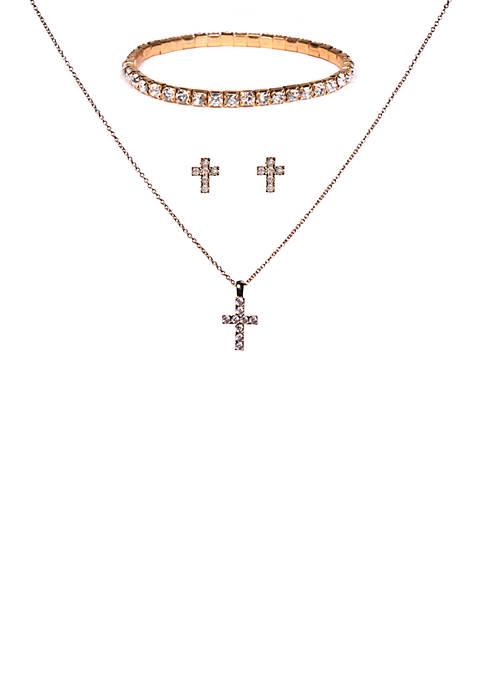 Kim Rogers® 3 Piece Cross Cubic Zirconia Jewelry
