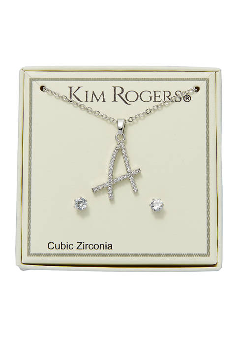 Silver Tone Letter A Necklace and Earring Set
