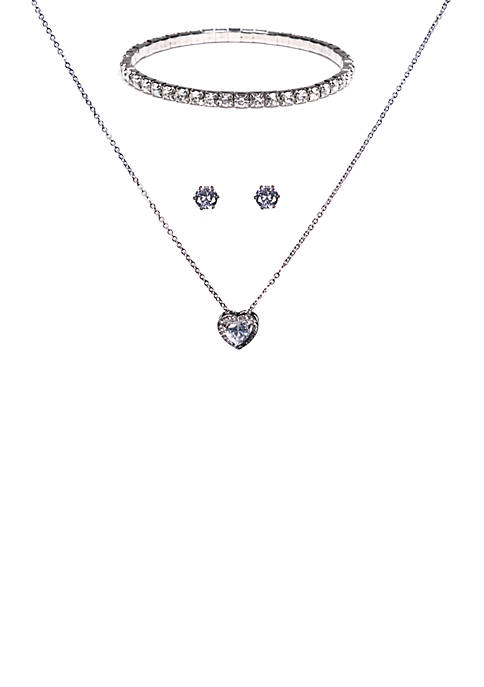Kim Rogers® 3 Piece Heart Earring Necklace and
