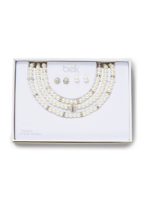 Pearl and Crystal Necklace, Bracelet, and Earring Set