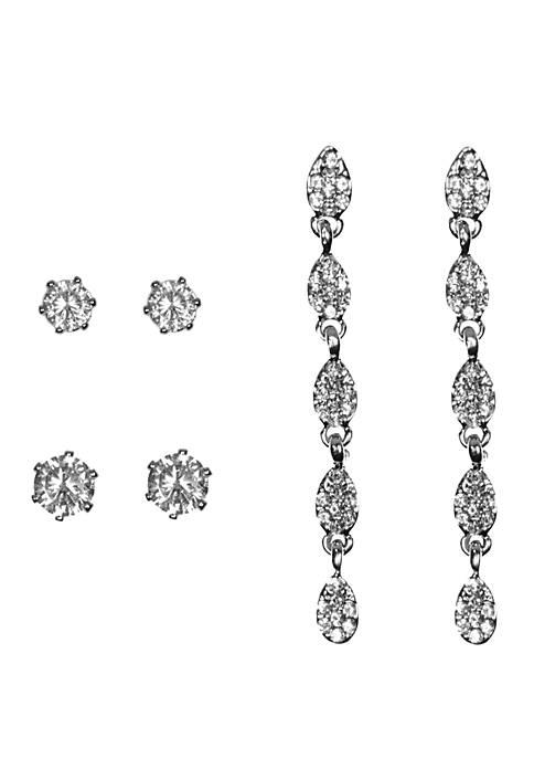 Set of 3 Crystal Zirconia Stud and Drop Earring Set