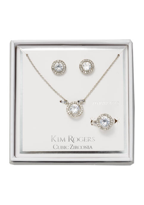 Cubic Zircona Earrings, Necklace and Ring Set