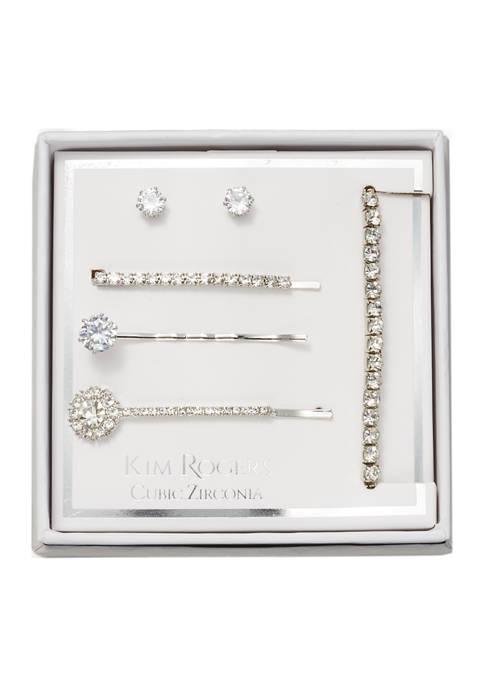 Kim Rogers® 3 Hair Clips, Earrings, and Bracelet