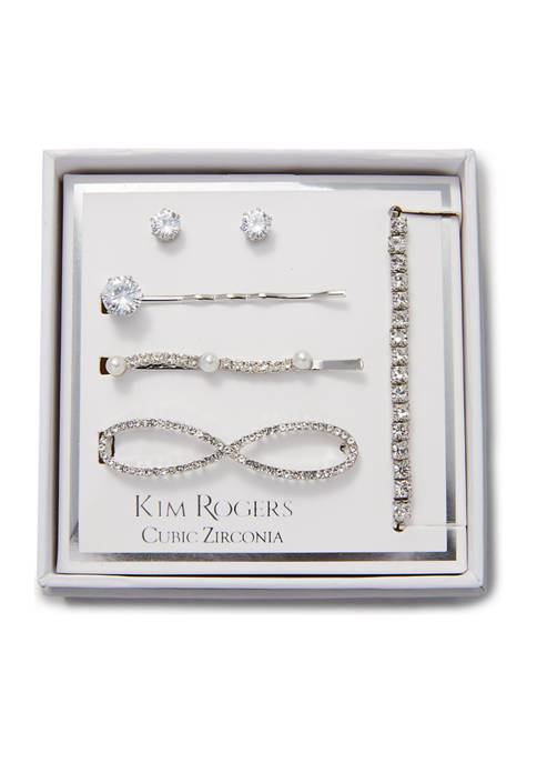Boxed Infinity Hair Clip, Earring, and Bracelet Set