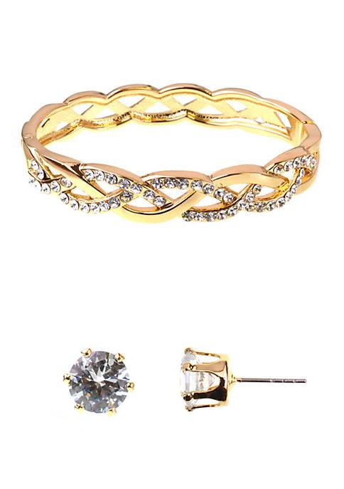 Kim Rogers® Braid Earrings and Bracelet Boxed Set