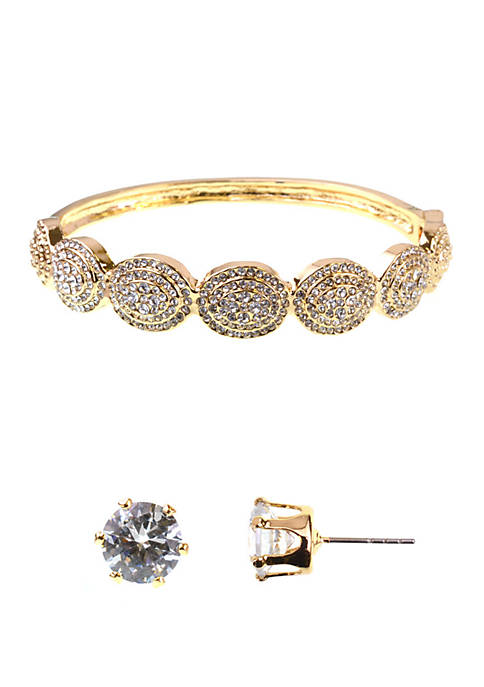 Oval Bracelet and Cubic Zirconium Earrings Set