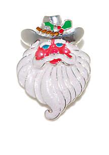 Texas Holiday Santa Pin