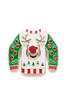 Gold-Tone Ugly Sweater Pin