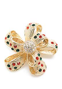 Gold-Tone Holiday Bow Pin