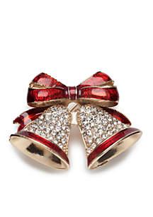 Gold-Tone Ringing Holiday Bell Pin