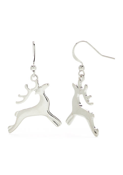Kim Rogers® Reindeer Silver Tone Earrings