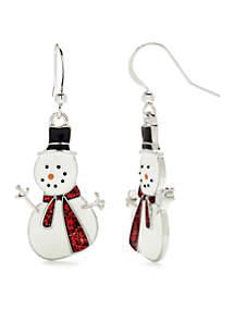Silver-Tone Snowman Drop Earrings