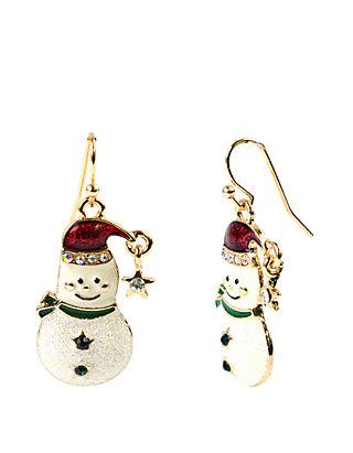 Holiday Glitter Snowman Earrings