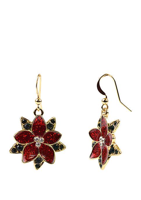Kim Rogers® Poinsettia Drop Earrings