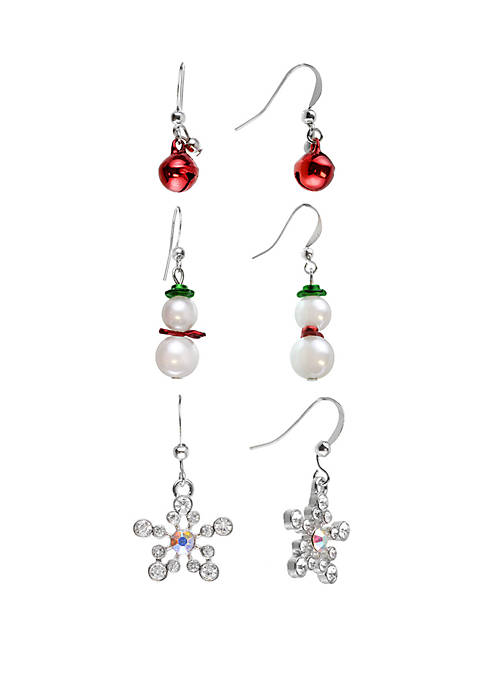 Kim Rogers® Holiday Trio Snowman Snowflake Earring Set