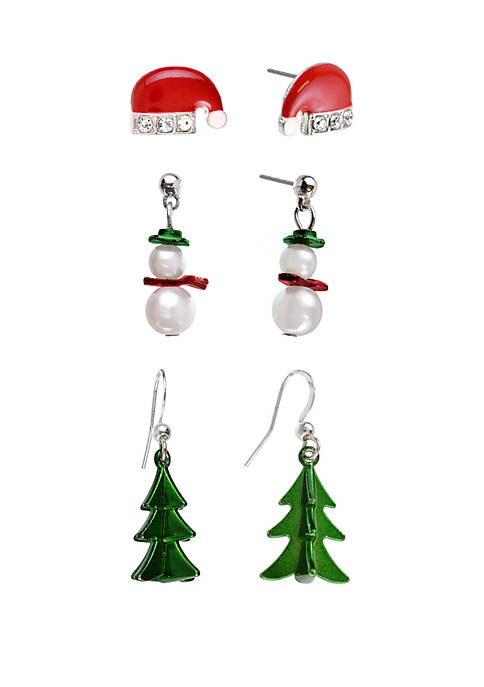 Kim Rogers® Holiday Trio Hat Snowman Tree Earrings