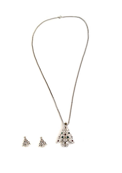 Silver Holiday Tree Necklace and Earrings Set