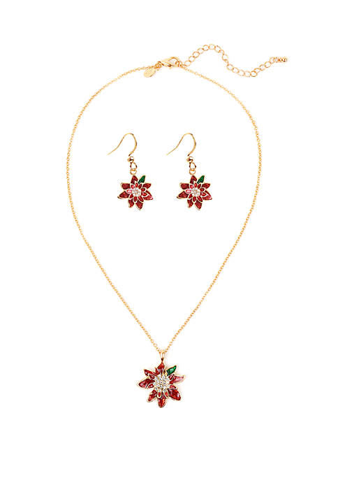 Holiday Necklace Poinsettia Set