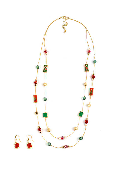 Kim Rogers® Gold Tone Holiday Station Necklace and