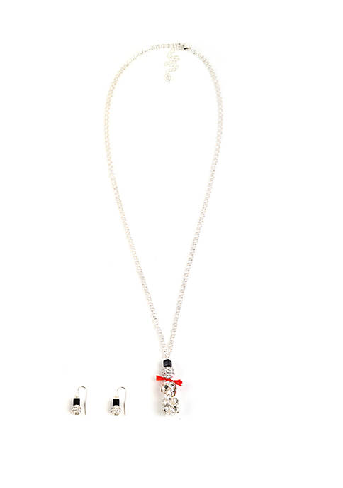 Ball and Snowman Earrings and Necklace Set