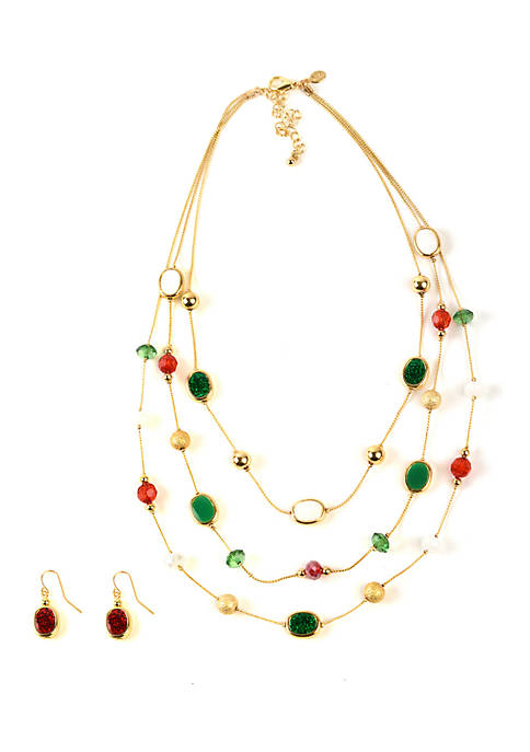 Kim Rogers® Multi Row Station Necklace and Earrings