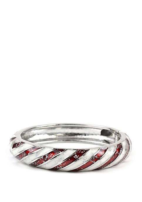 Silver Candy Cane Stretch Bracelet