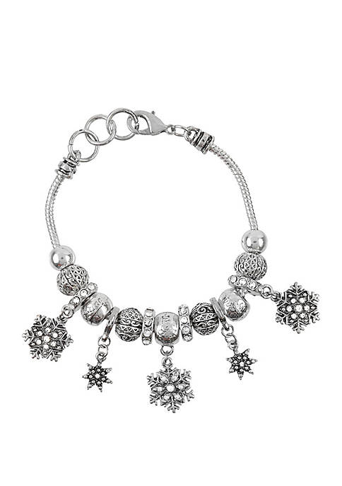 Holiday Snowflake Drop Bracelet