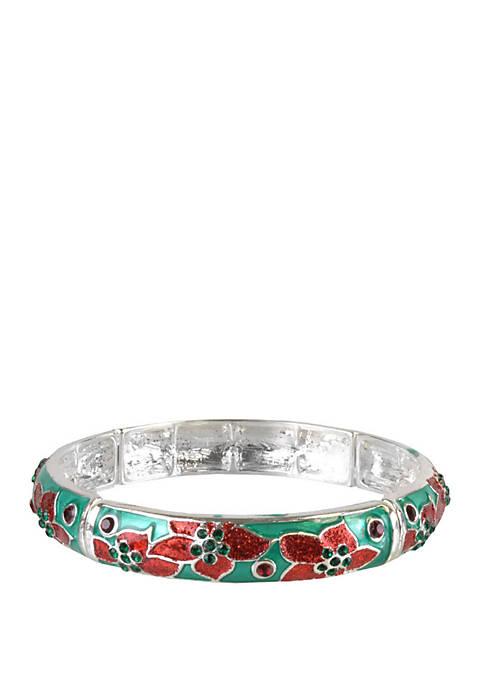 Silver Tone Poinsettia Bracelet