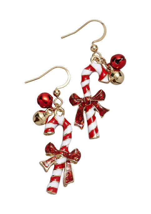 Gold Tone Candy Cane Earrings