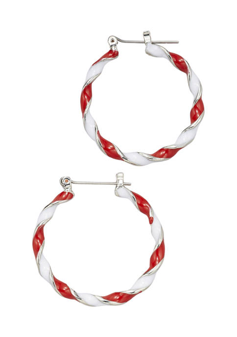 Rhodium Plated Candy Cane Hoop Earrings