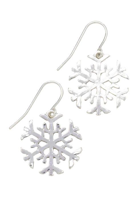 Silver Tone Snowflake Drop Earrings