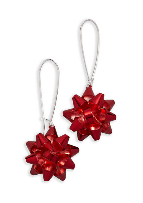 Red Bow Drop Earrings
