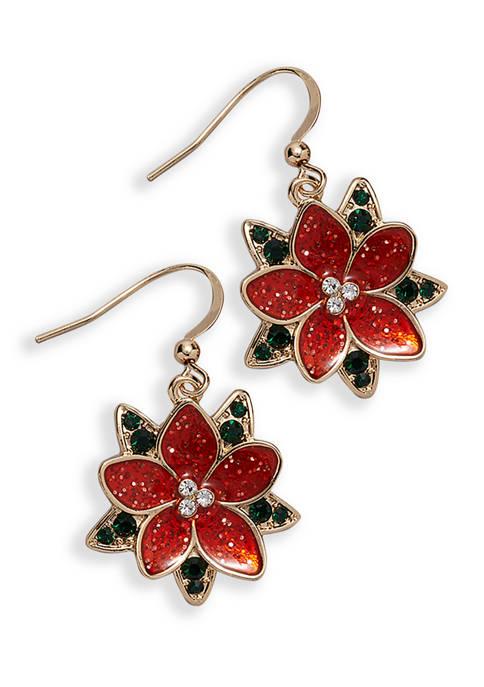 Poinsettia Drop Earrings