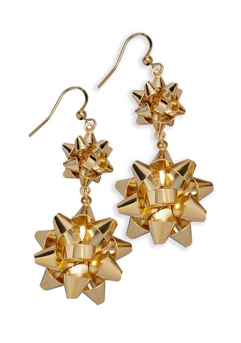 Gold Bow Drop Earrings
