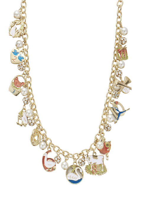 Gold Holiday Charm Necklace